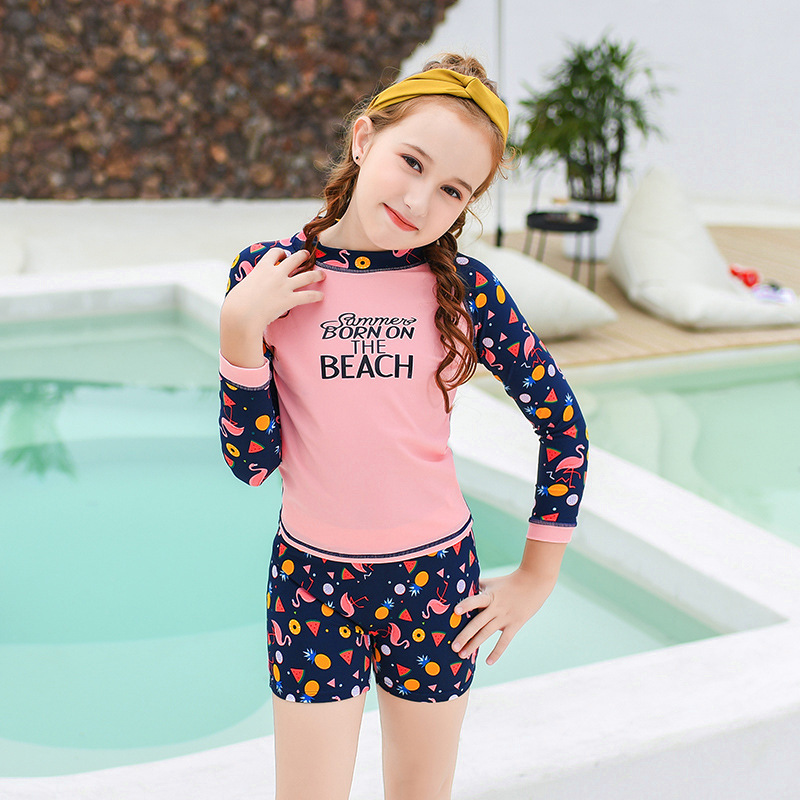 2019 New Style Hot Sales KID'S Swimwear Long Sleeve Shorts Sun-resistant Split Type INS Athletic Hipster GIRL'S Swimsuit