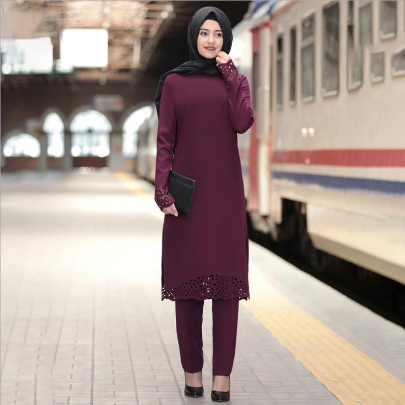 Elegant two pieces muslim tops + pants Worship service robes suits Abaya Dress Robe Tunic Jubah dubai Ramadan robes sets F1547w
