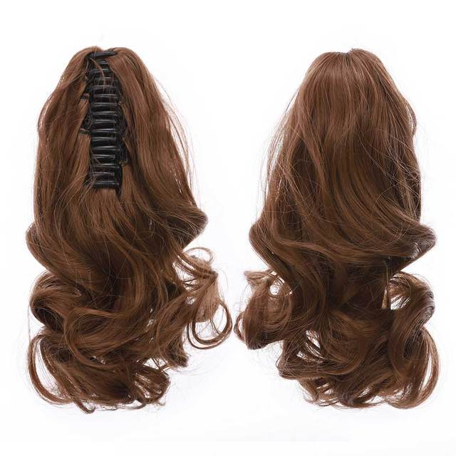 S-noilite Short Wavy Ponytail Claw Jaw in Hairpiece Synthetic Clip in Hair tail for women Black Brown Pony Tail 2