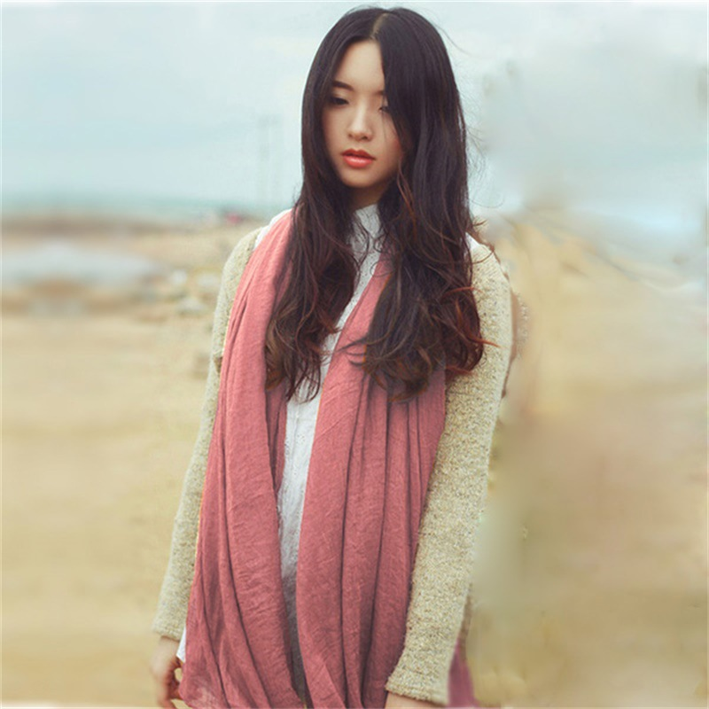 Versatile Spring And Summer Sun-resistant Shawl Cotton Linen Short Beard Pleated Solid Color Scarf Vintage Literature And Art Si