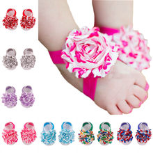 1Pair Baby Infant Barefoot Toddler Foot Newborn first walkers Flower Foot Toddler Shoes Baby Girls flower Shoes Baby Accessories(China)