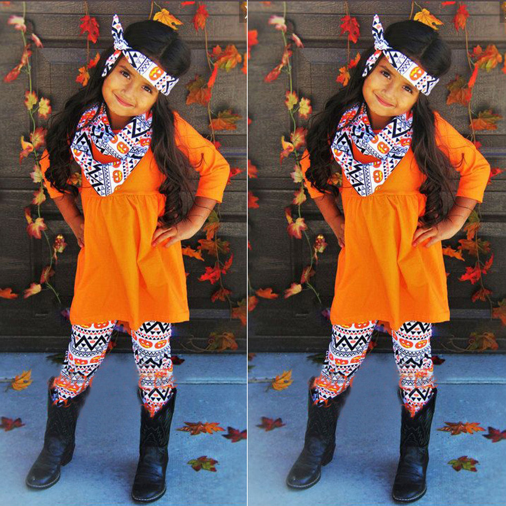 halloween girls outfits Toddler Kids Baby Girl Pumpkin T shirt Aztec Pants Halloween Costume Outfits Set ensemble fille hiver
