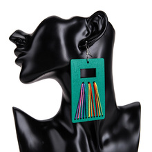Euro-American Fashion Wooden Hand-made Colored Lines Exaggerate Ethnic Wind Ladys Earrings and