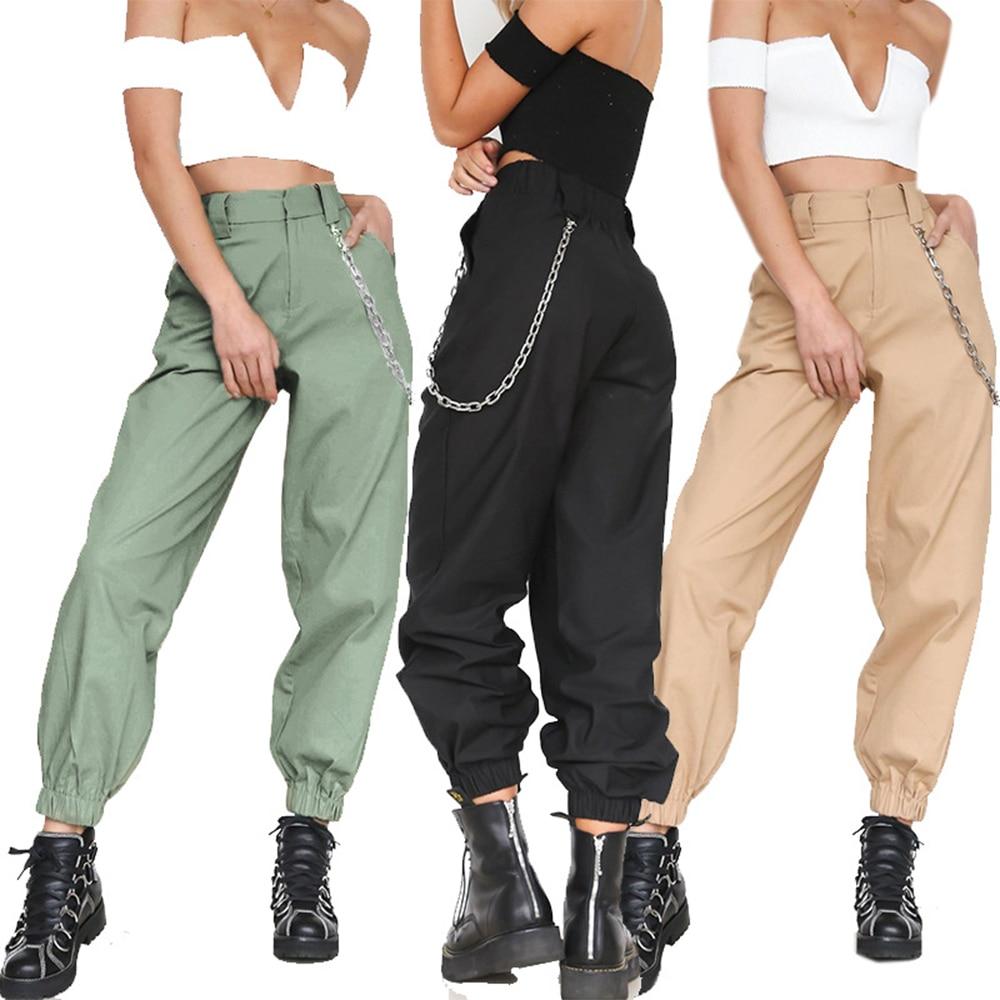PUIMENTIUA 2019 Autumn Vintage Chain Black Cargo Pants Women High Waist Pants Joggers Baggy Trousers Women Streetwear Plus Size