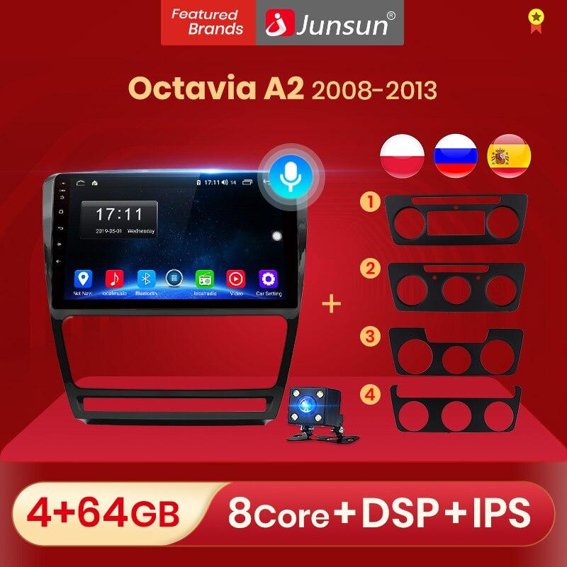 Junsun автомобиль радио мультимедиа плеер для SKODA Octavia 2 A5 2008-2013 AI голосовых Управление Android 10,0 видео навигации GPS 2Din DVD