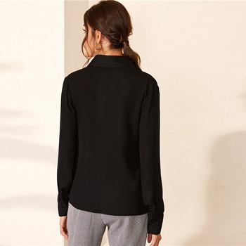 Blusa camisa color sólido manga larga botón frontal oficina casual 1