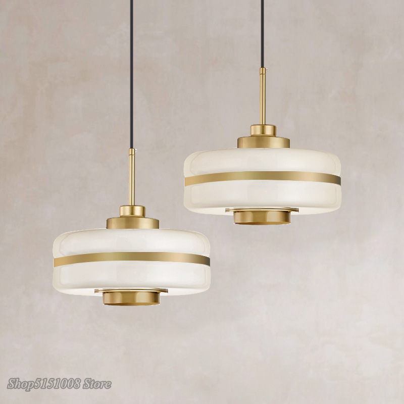 Modern Glass Gold Pendant Lights Nordic Led Kitchen Hanging Lamps Living Room Circular Luminaire Industrial Home Decor Fixtures