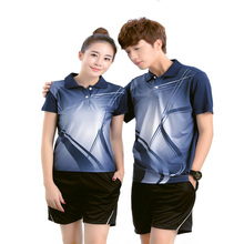Men & Women Badminton suit shirts + shorts sets Short sleeve Shuttlecock Jersey tracksuit Table Tennis training suits Sportswear