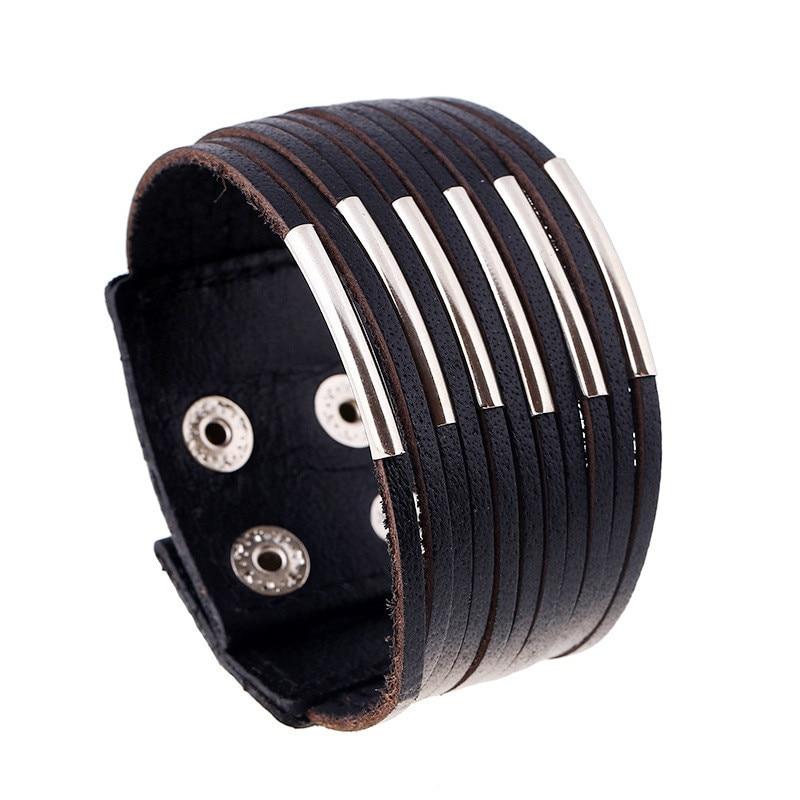ZORCVENS Vintage Punk Retro Multilayer Leather Bracelet Male Fashion Braided Handmade Rope Wrap Bracelets & Bangles for Men