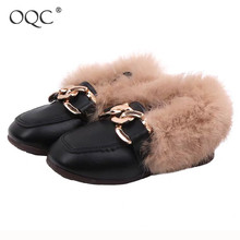 Купить с кэшбэком OQC Kids Leather Shoes New Autumn Winter Girl Flats With Thick Cotton Warm Plus Velvet Children Peas Shoes Hairy Fur Loafers D30