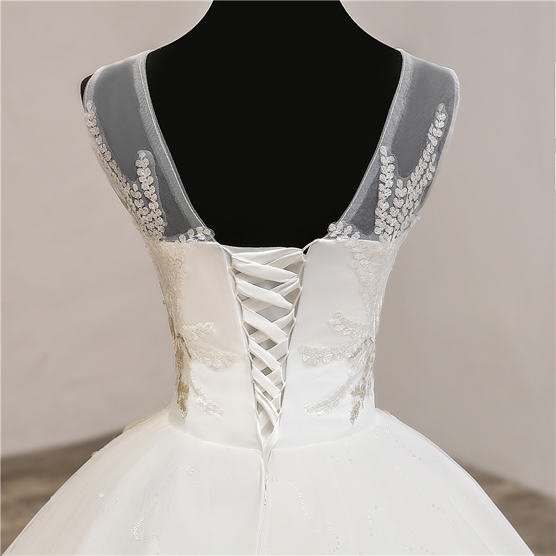 Image 5 - Fashion elegant V Neck Wedding Dresses  2019 New Summer Korean Vestidos de novia sweet Lace Applique Gowns Robe De Mariage  0.8-in Wedding Dresses from Weddings & Events