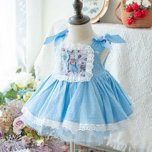 Детское хлопковое платье с вышивкой кролика, в стиле ретро, для девочек, весна-лето 2020