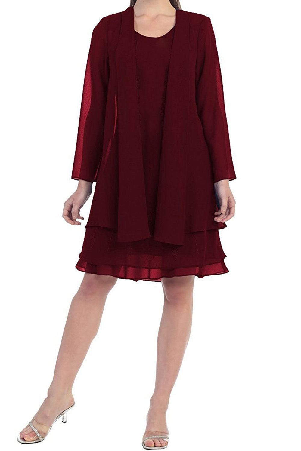 Mother-Of-The-Bride-Dress Jacket Long-Sleeves Chiffon Wedding Burgundy Elegant Women title=