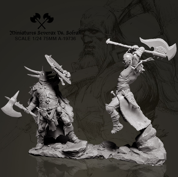 1/24 (75mm) Resin Figure Kits Warrior Battle Duo Resin Soldier Model Self-assembled A-19737