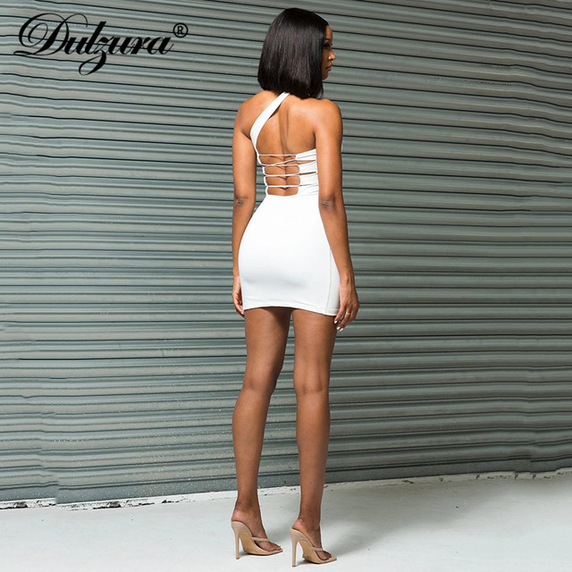 Dulzura Lace Up Bandage Cross Women Slit Mini Dress One Shoulder Sleeveless Bodycon Backless Sexy Streetwear Party Elegant Club 3