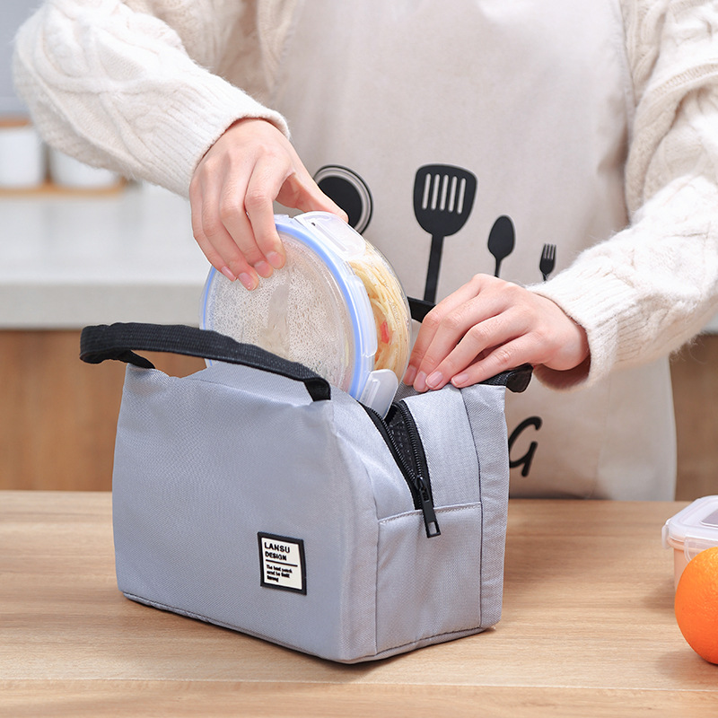 Korean-style Multi-functional Lunch Box Bag Flamingo Waterproof Lunch Bento Box Bag Hand Zipper Lunch Bag Insulated Fan Dai