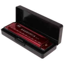 10 Holes Key of C Blues Harmonica Musical Instrument Educational Toy with Case 03KA