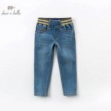 DBK13119 dave bella spring kids boy fashion denim blue pants children full length kids pants infant toddler 5-13Y trousers