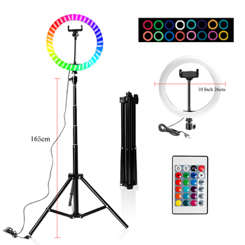 10 Inch Led Ring Light Usb RGB Ringlamp USB Light Ring Photo Selfie Lamp with Remote Phone Stand for Streaming Video Photography 13