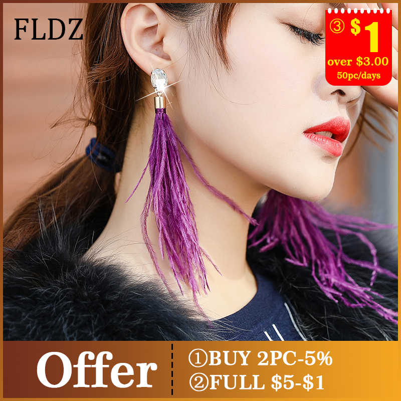 FLDZ New Soft Ostrich Feather Drop Earring For Women Sweet Waves Long Tassel Zirconium Earrings Fashion Jewelry Accessories