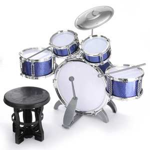 Children Kids Jazz Drum Set Junior Kit Musical Educational Instrument Toy 5 Drums with Small Stool Child Percussion Drum Sticks