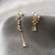 925 Sterling Silver Water Drop Zircon Pearl Stud Earrings Asymmetric Korea Style for Women New Trendy Ear Jewelry Chic