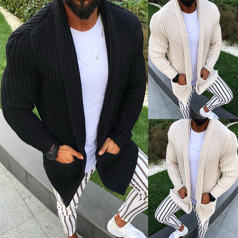 SHUJIN Spring Warm Sweater Coat Pockets Casual Men Sweatercoat Tricot Cardigan Autumn Knitted Sweater Casaco Masculino Hombre