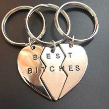 3 pçs/set novo coração quebrado melhores cadelas para sempre chaveiro chaveiro jóias presente para as mulheres amigos