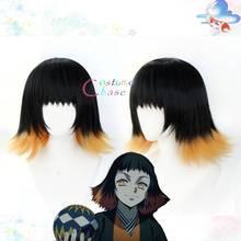 Susamaru悪魔特効kimetsuなしyaibaかつらコスプレ衣装耐熱人工毛 + 無料ウィッグキャップ