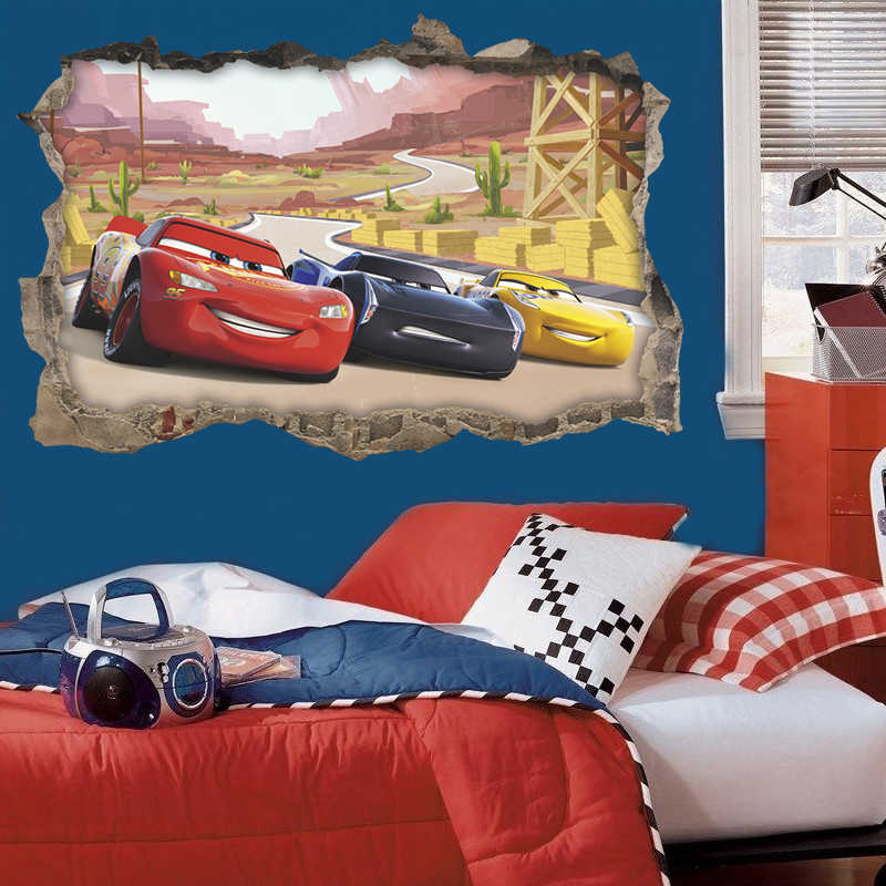 3d Disney Cars 3 Through Wall Stickers For Kids Rooms Home Decor