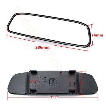 Podofo-Monitor de espejo retrovisor de coche, cámara reversa para visión trasera, LED de visión nocturna, sistema de aparcamiento automático, 4,3 pulgadas, CCD 2