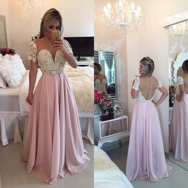 Robe Longue Soiree Cap Sleeve Pearl Beaded Lace Evening Gown 2018 Backless Formal Vestido De Festa Mother Of The Bride Dresses