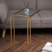 Mesa auxiliar de apartamento pequeño de estilo nórdico moderna y Simple sala de estar mesa de esquina de Metal sofá mesa auxiliar de vidrio pequeña mesa de centro