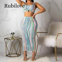 Rubilove Colorful Striped Sexy Two Piece Set Women Square Collar Backless Crop Top + Bandage Skirts Sweatsuit Summer 2 Clu
