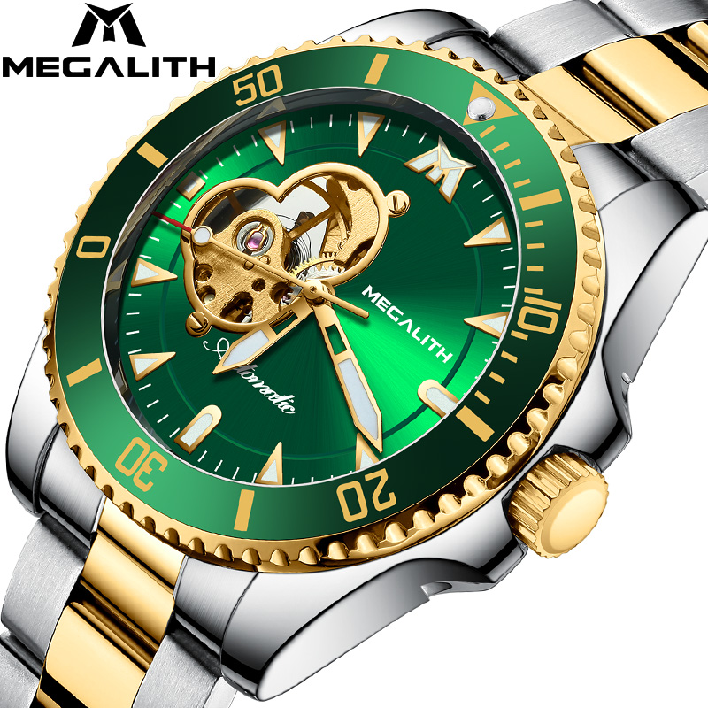 2020 Top Brand MEGALITH Luxury Men's Mechanical Watches 30m Waterproof Clock Sports Mechanical Men Gift Watch Relogio Masculino