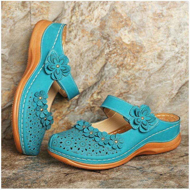 Plus Size 35-46 Women's Sandals 2020 Summer Handmade Ladies Shoes Floral Sandals Women Flats Retro Style Shoes Woman Slippers PU