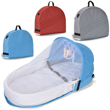 Portable Crib Baby Nest Bed Breathable Mosquito Net Travel Baby Bed Cotton Cradle for Newborn Baby Bed Sleeping Basket Cot 90x50cm portable baby nursing sleeping nest bed breathable cotton shaping mat baby bionic bed for infants toddlers crib bumper