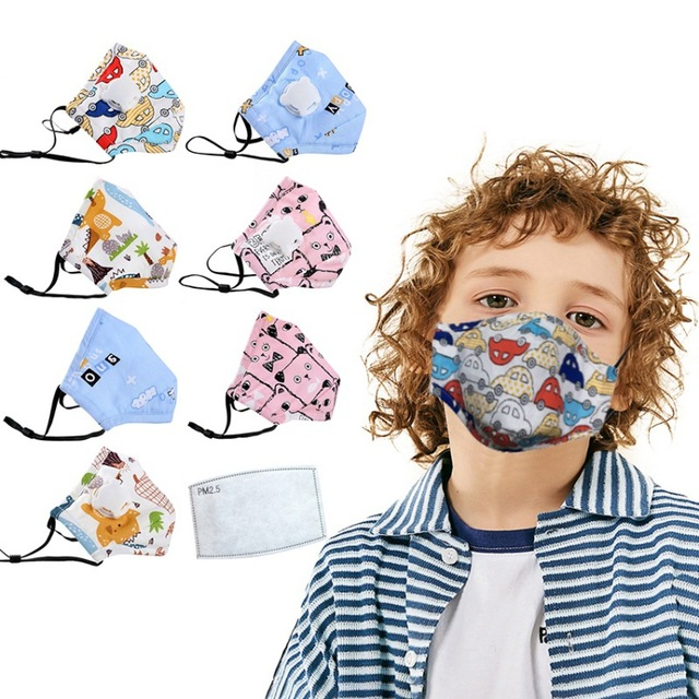 PM2.5 Children Reusable Mask With 1pc Replaceable Filter Anti Dust Mouth Mask Respirator Kids Face Protective Mask 3-12 Years 1