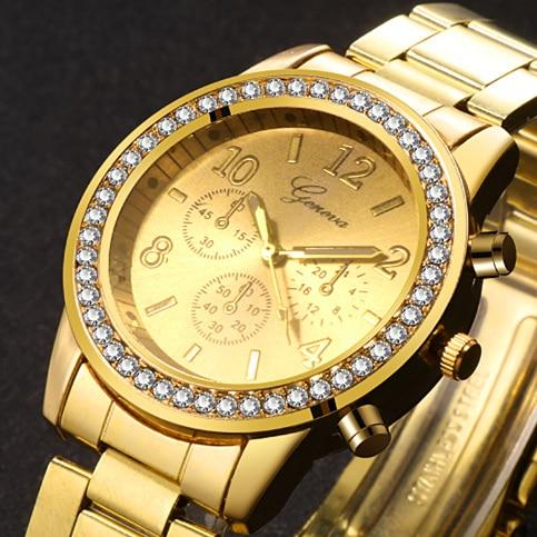 Hot Classic Geneva Luxury Ladies Watches Womens Full Steel Crystal Relogio Feminino Reloj Mujer Metal Wristwatch Watches Women