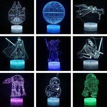 سلسلة ستار عمل الشكل ثلاثية الأبعاد الوهم مصباح دارث فيدر BB8 R2D2 X WING الحروب الشكل LED Lmapen الاطفال النوم أضواء ليلية اللعب