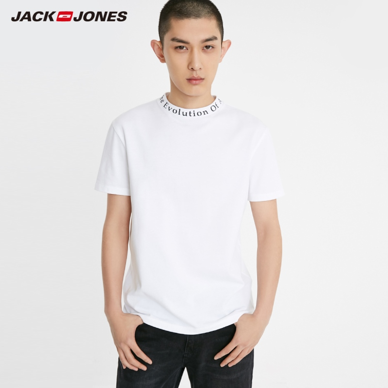 JackJones Men's 100% Cotton Letter Print Mock Neck Short-sleeved T-shirt Sports Menswear| 219201597