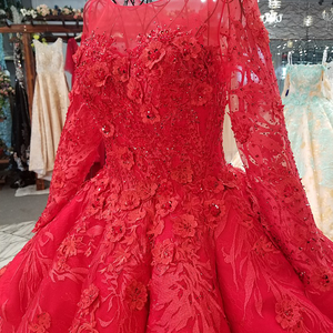 Image 5 - LS2771 red brides wedding party dresses with peplum o neck long tulle sleeve lace up back beauty cheap evening dress real price