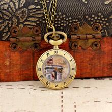 2020 New Fashion Men and Women Ancient Style Pocket Watch Quartz Bronze WatchSteampunk Antique Printing Relogio Masculino