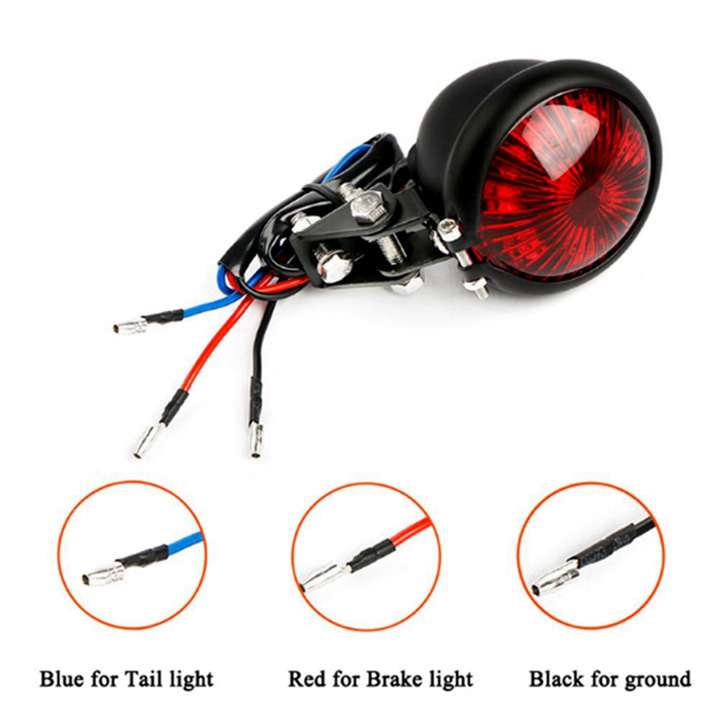 Red 12V Led Black Adjustable Cafe Racer Style Stop Tail Light Motorcycles Motorbike Brake Rear Lamp Tail Light for Harley Choppe