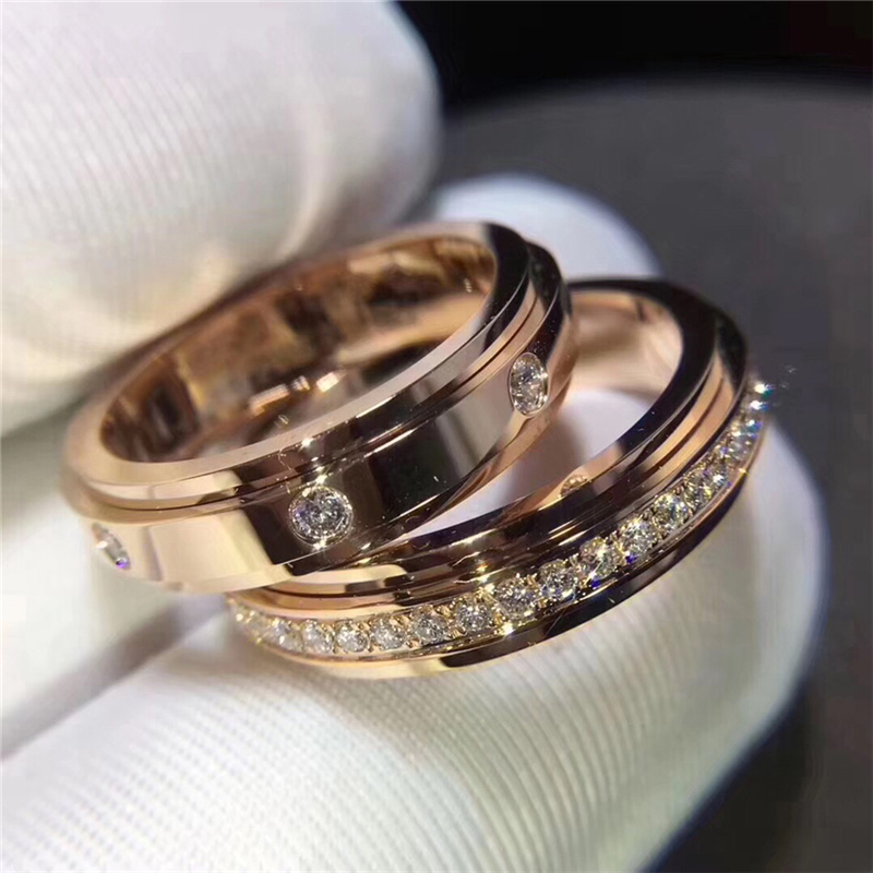 brand P rotatable micro gems couple rings wedding ring engagement rings gift have original logo for man and woman image