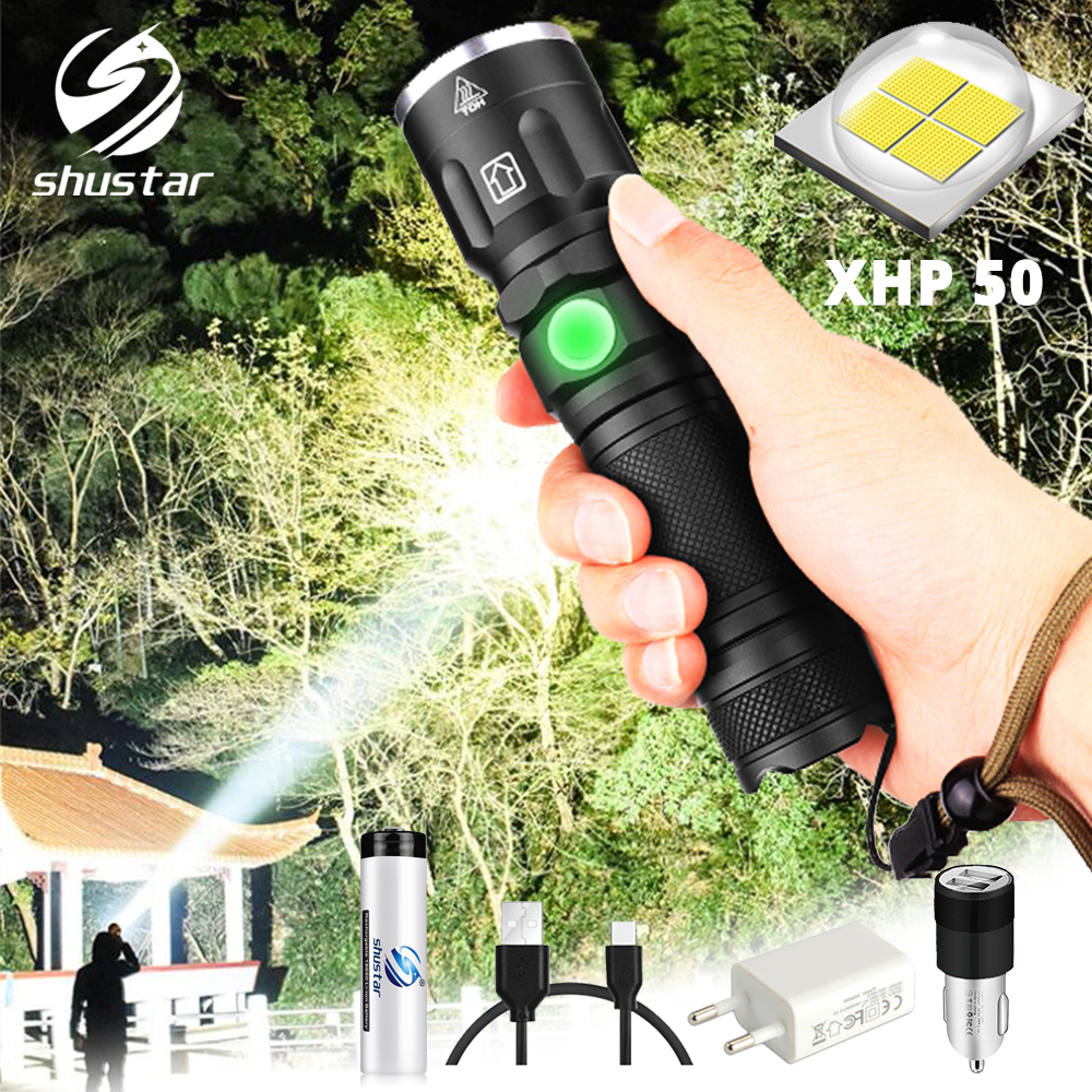 Super Bright XHP50 LED Flashlight Waterproof 5 Lighting Modes Zoomable Torch Use 18650 Or 26650 Battery For Outdoor Adventures
