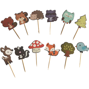 Image 2 - 24pcs Woodland Creatures Cake Toppers Jungle Forest Animal Cupcake Toppers for Kids Birthday Party Decorations Dessert supplies