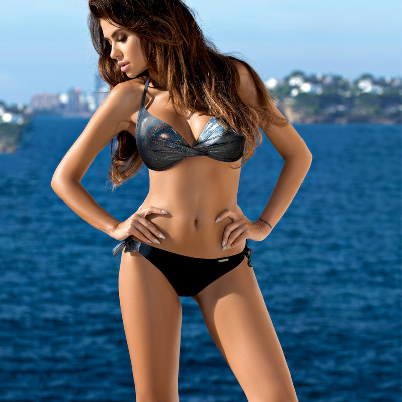 Sexy Bikinis 2020 Halter Swimsuit Solid Swimwear Women Plus Size Shiny Bordered Bikini Set Bathing Suit Push Up Two-piece Suit 1