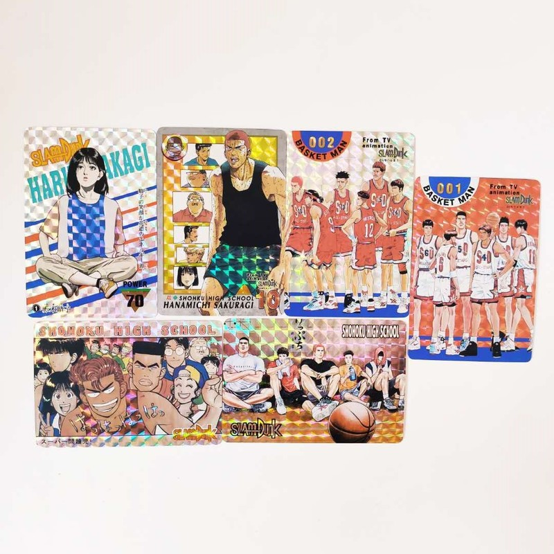 6pcs/set Slamdunk Hanamichi Sakuragi Goku Jiren Rukawa Kaede Action Smile Figures Commemorative Edition Collection Cards