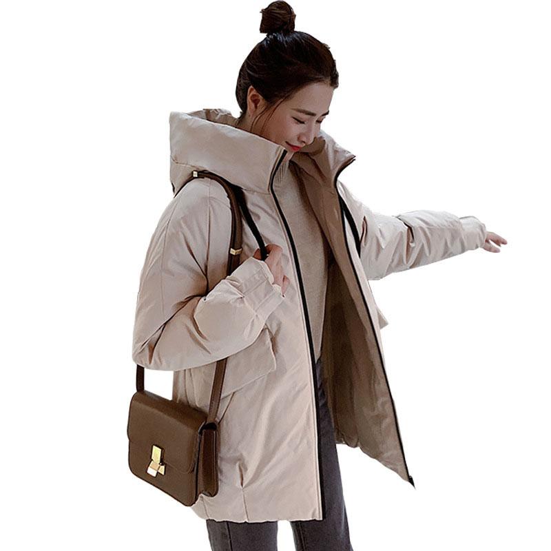 Chic Short Bakery Coat Hooded Winter Down Coat Heavy Jacket Oversize Thick Warm Cotton Padded Wadded Parkas Big Pocket